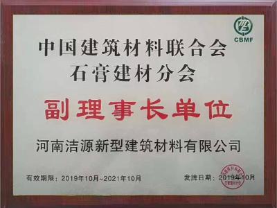 中国建筑材料联合会石膏建材分会副理事长单位证书